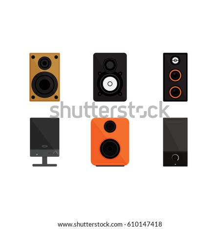 Speaker On White Background Vector Concept. Sound Speaker Illustration In  Modern Flat Style. Color