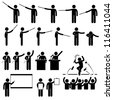 Speaker Presentation Teaching Speech Stick Figure Pictogram Icon - stock vector