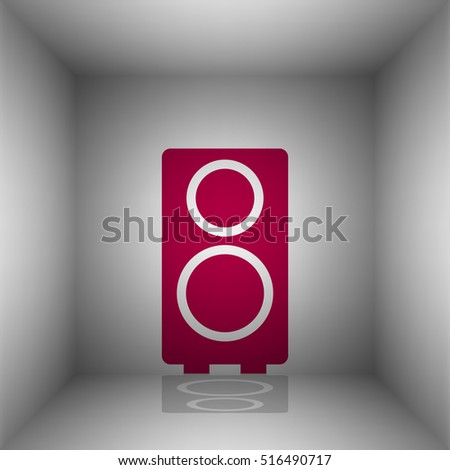 Speaker sign illustration. Bordo icon with shadow in the room.