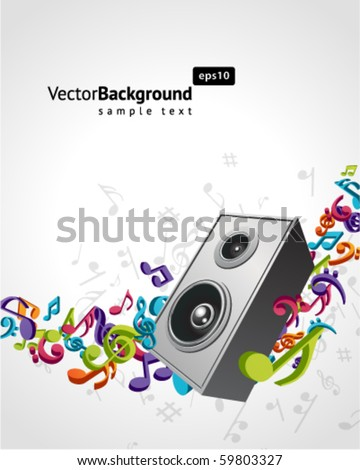 Speaker with fly 3d music notes vector background