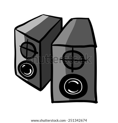 Speakers. A children's sketch. Color image - stock vector