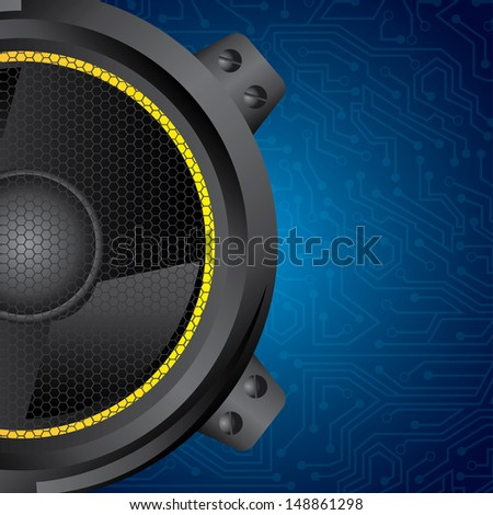 speakers design over blue circuit background vector illustration