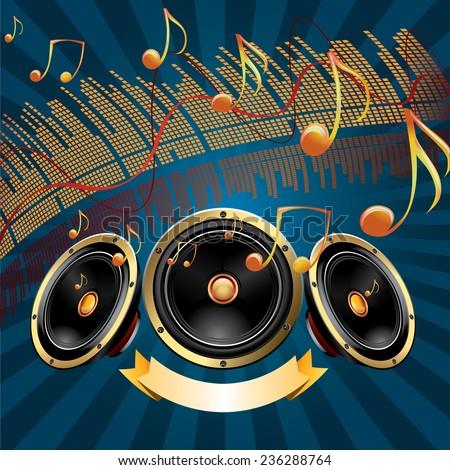 Speakers & notes - modern music design - stock vector