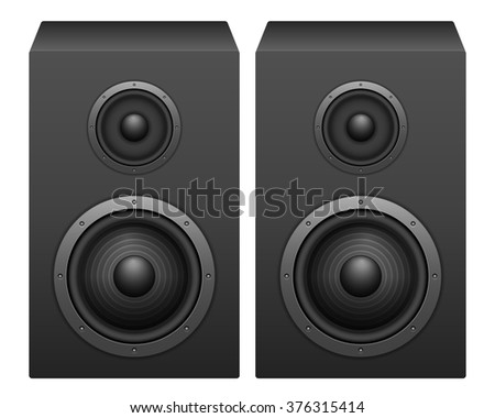 Speakers on a white background.