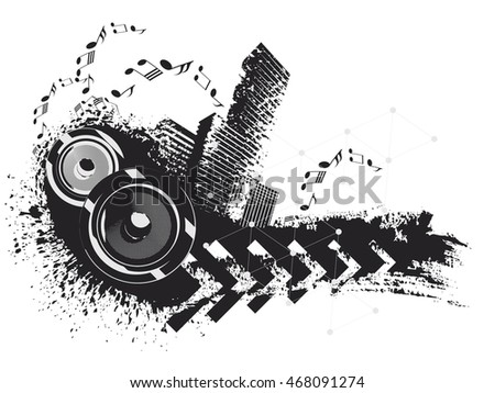 Speakers on urban grunge background