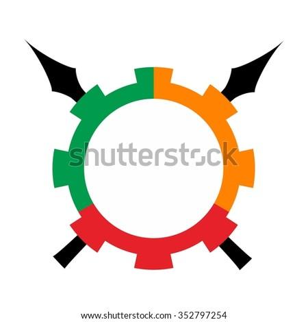 spear and gear logo vector. - stock vector