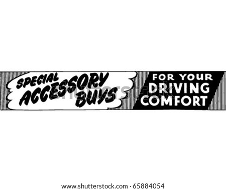 Special Accessory Buys - Ad Banner - Retro Clipart - stock vector