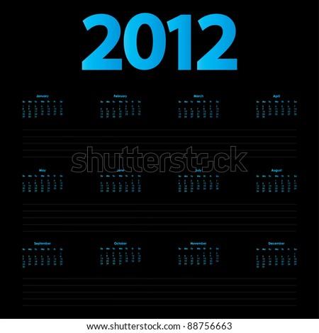 special 2012 calendar - stock vector