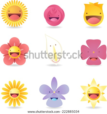 special characters Friendly Smiley Flowers Avatar Cartoon Profile vector illustration. - stock vector