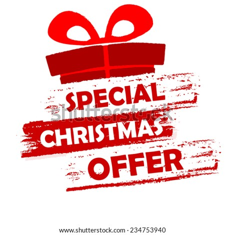 special christmas offer banner - text in red and white drawn label with gift symbol, business seasonal shopping concept, vector - stock vector