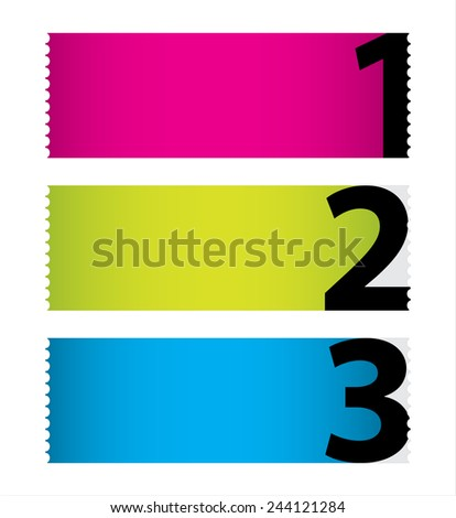 special colored stickers set with numbers - stock vector