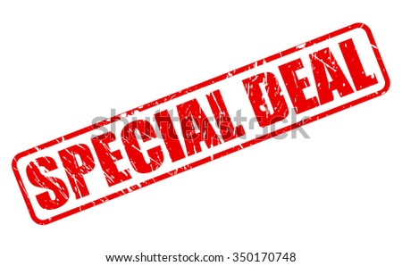 SPECIAL DEAL red stamp text on white - stock vector