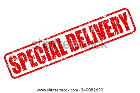SPECIAL DELIVERY red stamp text on white - stock vector