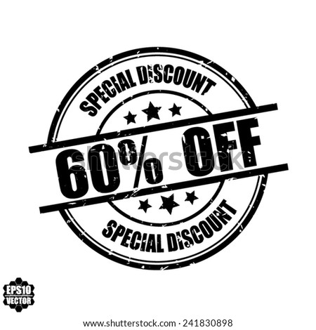 Special discount 60% off black grunge rubber stamp on white background, vector illustration  - stock vector