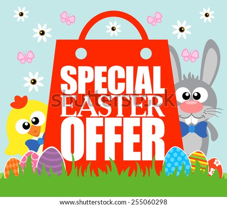 Special Easter Offer card , funny rabbit and chicken - stock vector