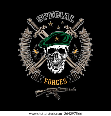 Green Beret Skull Special Forces Colored...