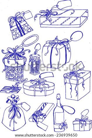 special gift boxes, sketch vector