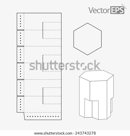 Special hexagonal display box - stock vector