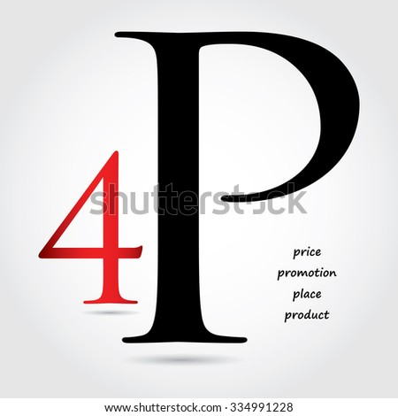 special marketing mix design - 4P design - stock vector