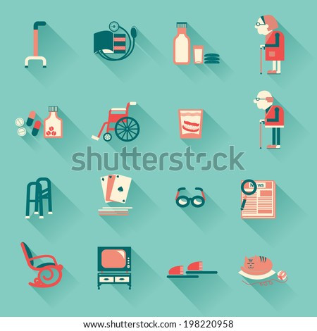 Special medical objects for pensioners life.Vector icons  - stock vector