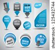 Special offer and sale labels, icons and stickers - stock vector