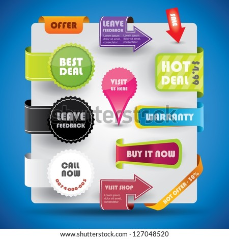 Special offer and warranty labels and stickers in vibrant color variations - stock vector