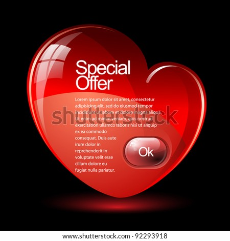 Special Offer Banner Banner in the form of heart - stock vector