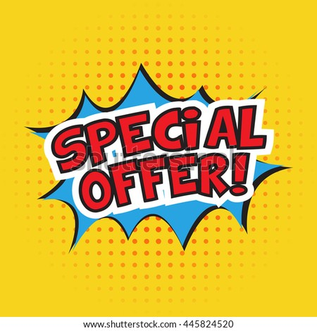 Special offer banner design. Vector illustration. Cartoon. Dotted background - stock vector