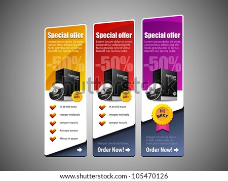 Special Offer Banner Set Vector Colored 8: Yellow, Red, Purple, Violet. Showing Products Purchase Button