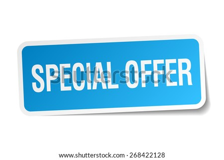 special offer blue square sticker isolated on white - stock vector