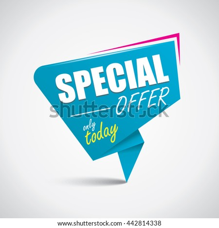 Special offer bubble with vibrant blue and pink colors in origami style