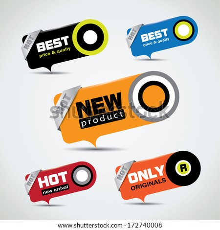 Special offer bubbles in vibrant color variations with different promotional text - stock vector