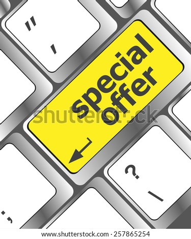 special offer button on computer keyboard - stock vector