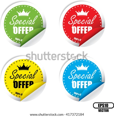 Special Offer Colorful Label, Sticker, Tag, Sign And Icon Banner Business Concept, Design Modern. Vector illustration. - stock vector