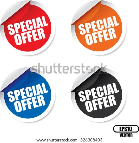 Special offer colorful modern labels and stickers. A specially reduced price or other financial inducement, usually available for only a limited period of time. Vector