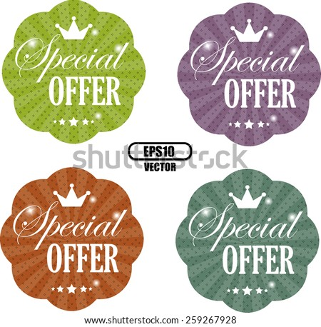 Special Offer Colorful Sticker, Label and Tag Vintage Style - Vector EPS.10 - stock vector