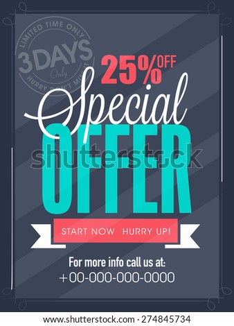 Special offer for 3 days only flyer, banner or template design for your business. - stock vector