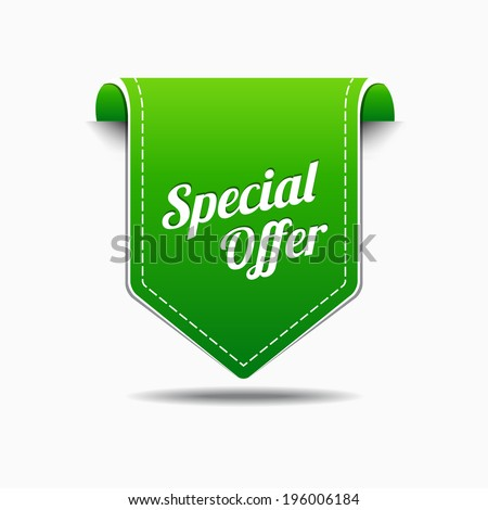 Special Offer Green Label Icon Vector Design - stock vector
