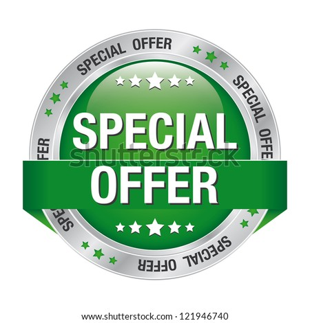 special offer green silver button isolated background