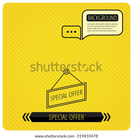 Special offer icon. Advertising banner tag sign. Chat speech bubbles. Orange line background. Vector - stock vector