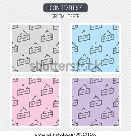 Special offer icon. Advertising banner tag sign. Diagonal lines texture. Seamless patterns set. Vector - stock vector