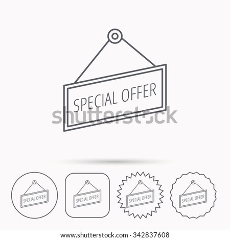 Special offer icon. Advertising banner tag sign. Linear circle, square and star buttons with icons. - stock vector
