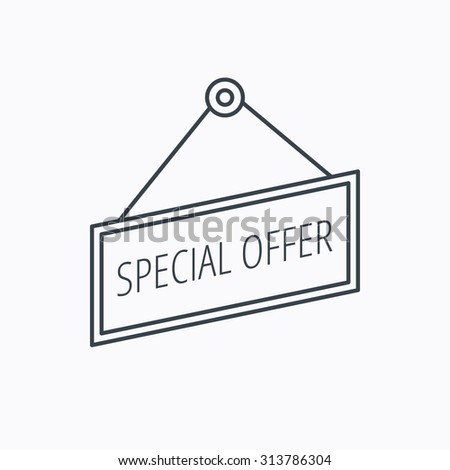 Special offer icon. Advertising banner tag sign. Linear outline icon on white background. Vector - stock vector
