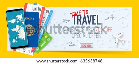 Special offer on business Travel. Business trip banner. Passport with tickets, smartphone and credit card. Air travel concept. Business travel illustration. 70% off.