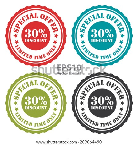 Special Offer 30 Percent Discount Limited Time Only on Vintage Badge, Icon, Button, Label Isolated on White, Vector Format - stock vector