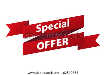 Special offer red ribbon banner icon isolated on white background. Vector illustration