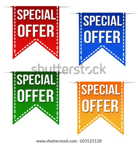 Special offer ribbons set on white, vector illustration