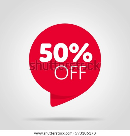 Special offer sale red tag isolated vector illustration. Discount offer price label, symbol for advertising campaign in retail, sale promo marketing, 50% off discount sticker, ad offer on shopping day