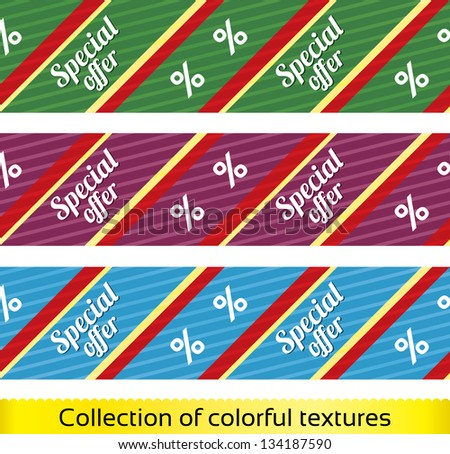 Special offer seamless texture with percent discount (vector collection, set). Abstract sale pattern (background). Shopping modern texture. - stock vector