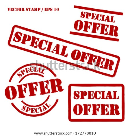 Special Offer Vector Stamps Set - stock vector